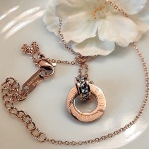 Jewelry - NEW Rose gold Numeric CZ Pendant Necklace